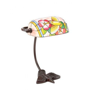 Table Lamp Bronze Bird  Style Lamp Stained Glass 7.5