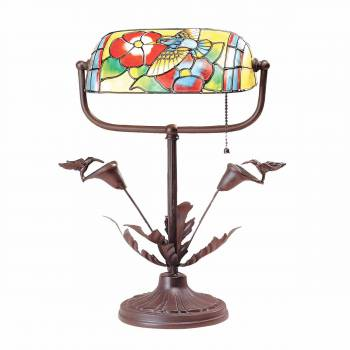 Table Lamps Antique Brass  Style Stained Glass 9.75