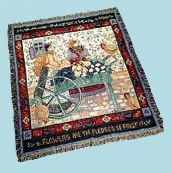 Wall Hanging Cotton Throw Village Square Afghan 68 x 51 Wallhanging Wallhangings Wall Decoration