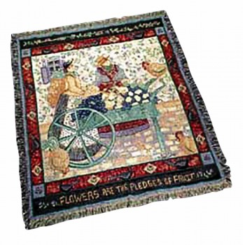 Wall Hanging Cotton Throw Village Square Afghan 68