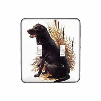 Black Lab White Steel Double Toggle Switch plate