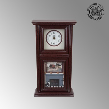 spec-<PRE>Clocks Burgundy Mission Crackle Wood Clock </PRE>