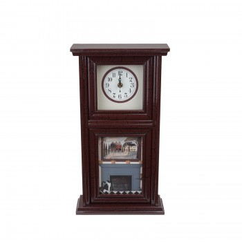<PRE>Clocks Burgundy Mission Crackle Wood Clock </PRE>