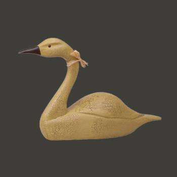 spec-<PRE>Wood Swan Decoy Mustard Wood Crackle 14.5&quot;H </PRE>