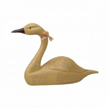 Wood Swan Decoy Mustard Wood Crackle 14.5