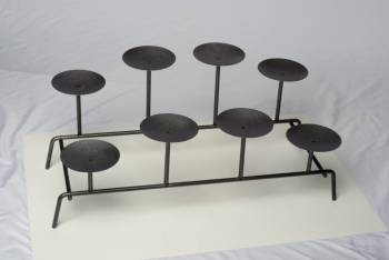 Candle Holder Black Iron 11H