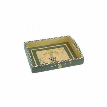 Vintage Wood Tray Pear Green Cream 67261grid