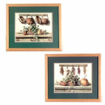 Wall Art Blue/Green Print Framed Set of 2 67328grid