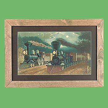 "<PRE>Framed Print Train Wood Frame 15inch x 21.75"" </PRE>zoom2"