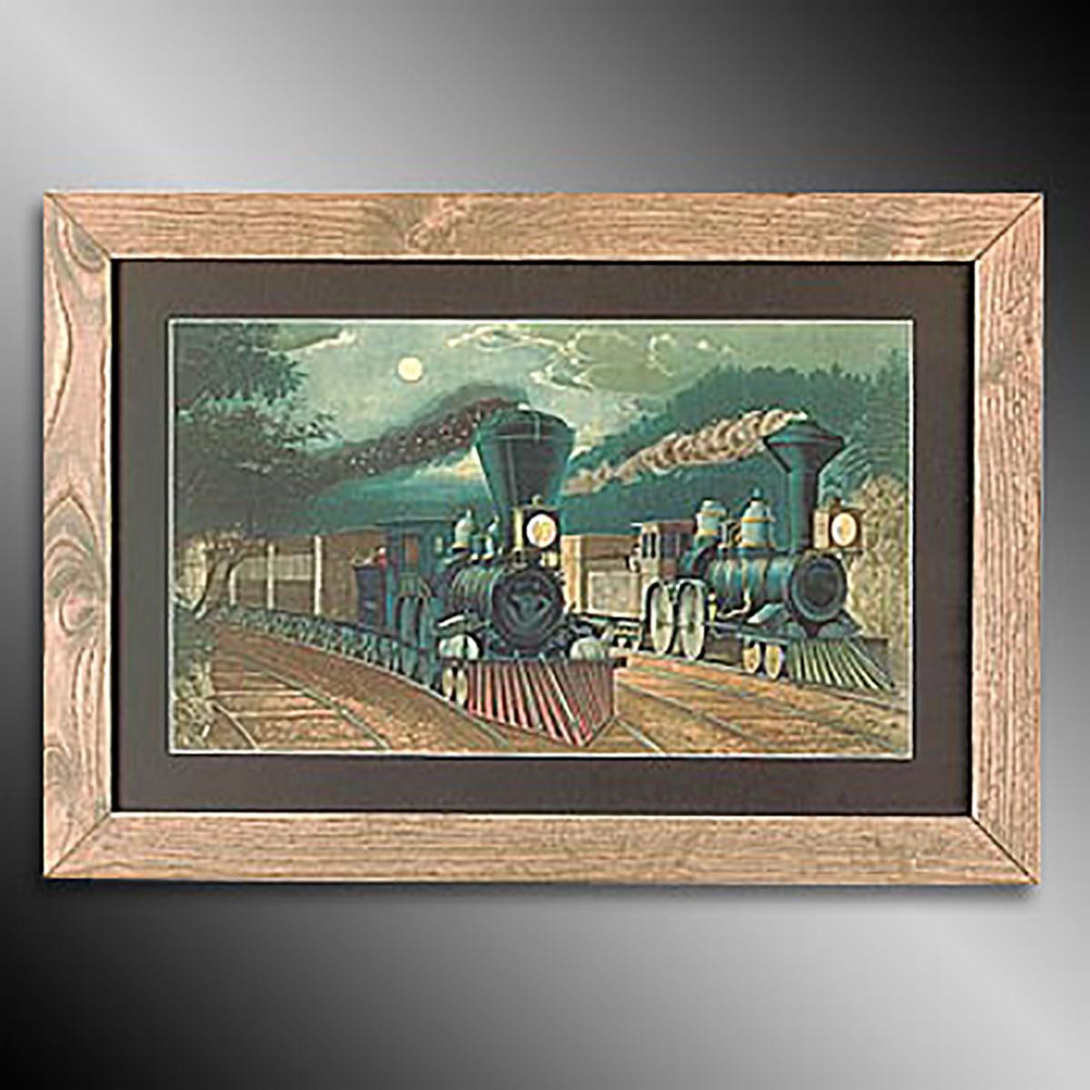 Framed Print Train Wood Frame 15 x 21.75 Kitchen Steam Train Framed Wall Art Prints Decorative Vintage Artwork