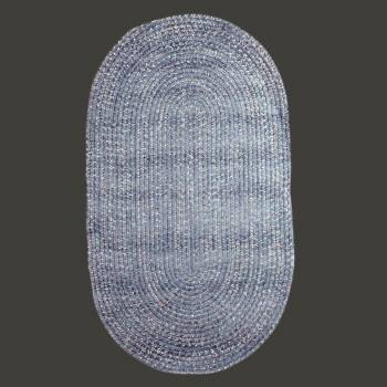 spec-<PRE>Oval Area Rug 5' x 3' Blue Polypropylene </PRE>