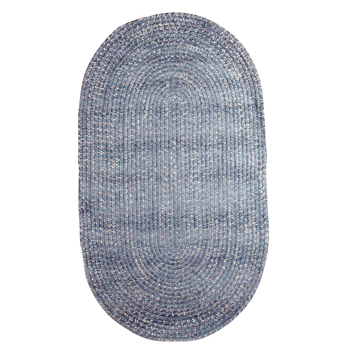 Oval Area Rug 5' X 3' Blue Polypropylene