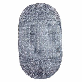 Oval Area Rug 5' x 3' Blue Polypropylene 67389grid
