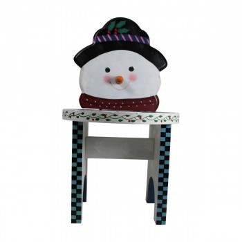 Wooden Snowman Stool WhiteBlue 16 12H x 9D Christmas Stool Christmas Stools Holiday Stool