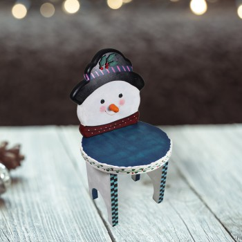 Wooden Snowman Stool White/Blue 16 1/2