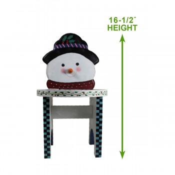 "spec-<PRE>Wooden Snowman Stool White/Blue 16 1/2""H x 9""D </PRE>"