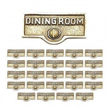 <PRE>25 Switch Plate Tags DINGING ROOM Name Signs Labels Brass </PRE>zoom1