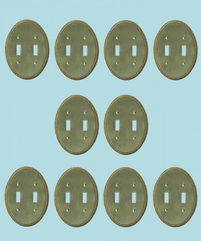 <PRE>10 Solid Brass Switchplate Double Toggle Oval Braided </PRE>zoom2