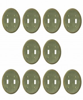 <PRE>10 Solid Brass Switchplate Double Toggle Oval Braided </PRE>zoom1