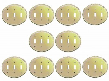 <PRE>10 Solid Brass Triple Toggle Switchplate Oval Braided </PRE>zoom1