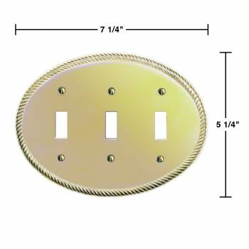 spec-<PRE>10 Solid Brass Triple Toggle Switchplate Oval Braided </PRE>