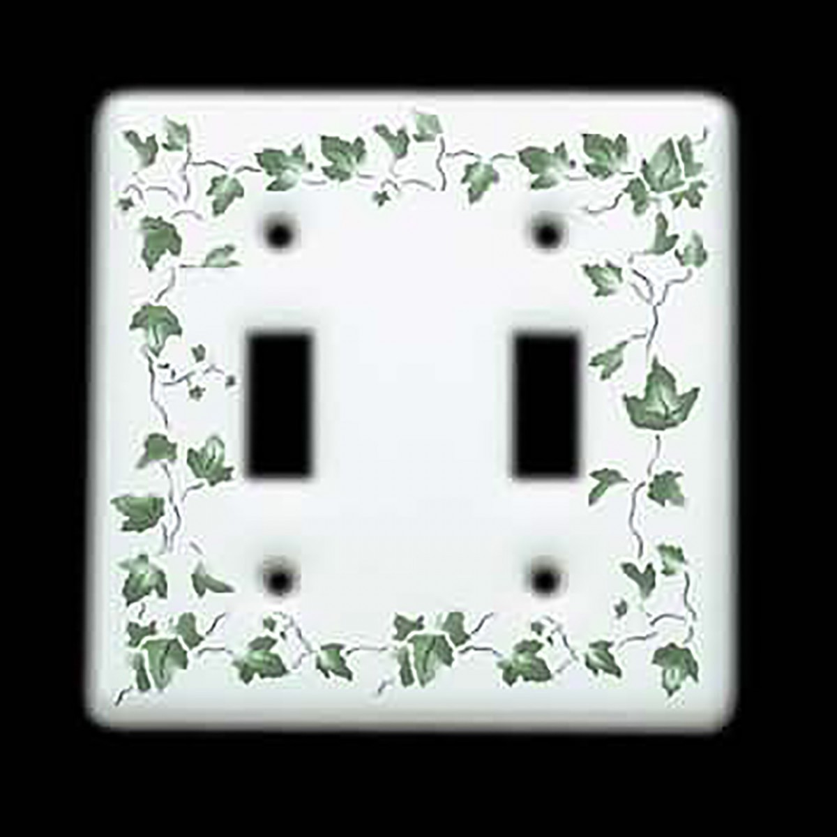 2 Vintage Light Switch Plate White Porcelain Ivy Double Toggle Switch Plate Wall Plates light switch plate