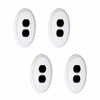 4 White Solid Brass Oval Braided, Single Outlet wall plate