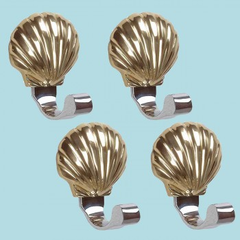 <PRE>4 Traditional Robe Hook Bright Solid Brass Sea Crest </PRE>zoom2