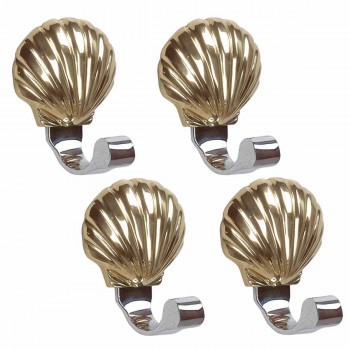 4 Sea Crest Bright Solid Brass Sea Crest Robe Hook
