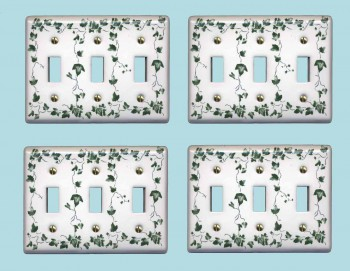 <PRE>4 Switch Plate White Porcelain Ivy Triple Toggle Light Switch Plate</PRE>