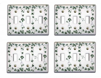 <PRE>4 Switch Plate White Porcelain Ivy Triple Toggle Light Switch Plate</PRE>zoom1