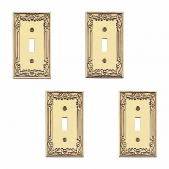 4 Victorian Switch Plate Single Toggle PVD Solid Brass