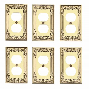 6 Outlet Plates Bright Solid Brass Victorian Style Set of 6