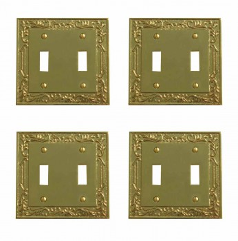 <PRE>4 Victorian Switch Plate Double Toggle PVD Solid Brass </PRE>