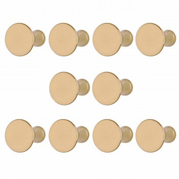 10 Knob Bright Solid Brass Classic Brass Cabinet Hardware 1 in. diameter