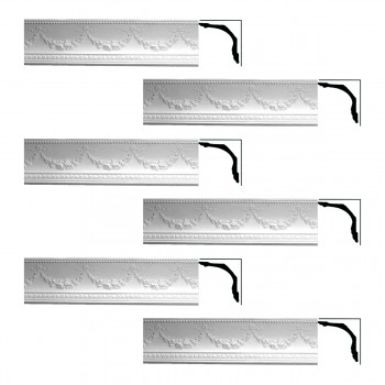 Renovators Supply Ornate Cornice White Urethane Floral Bunting  6 Pieces Totaling 454.5 Length White PrePrimed Urethane Crown Cornice Molding Cornice Crown Home Depot Ekena Millwork Molding Wall Ceiling Corner Cornice Crown Cove Molding