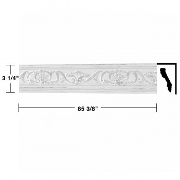 "spec-<PRE> Ornate Cornice White Urethane Sandoval Design 6 Pieces Totaling 512.25"" Length</PRE>"