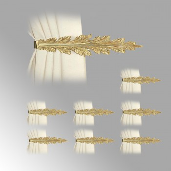 8 Vintage Pair Curtain Tie Back Holder Fern Leaf Bright Brass Tie Back Curtain Back Tie Backs