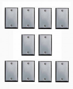 10 Bright Chrome Plated Steel Beveled Single Blank Switch Plate