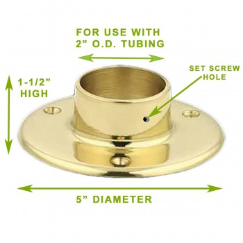 "spec-<PRE>10 5"" Floor Flange Solid Brass Fits 2"" Tubing Bracket </PRE>"