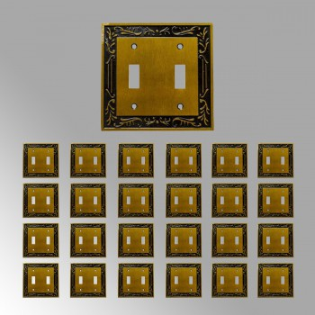 25 Victorian Switch Plate Double Toggle Antique Solid Brass Switch Plate Wall Plates Switch Plates