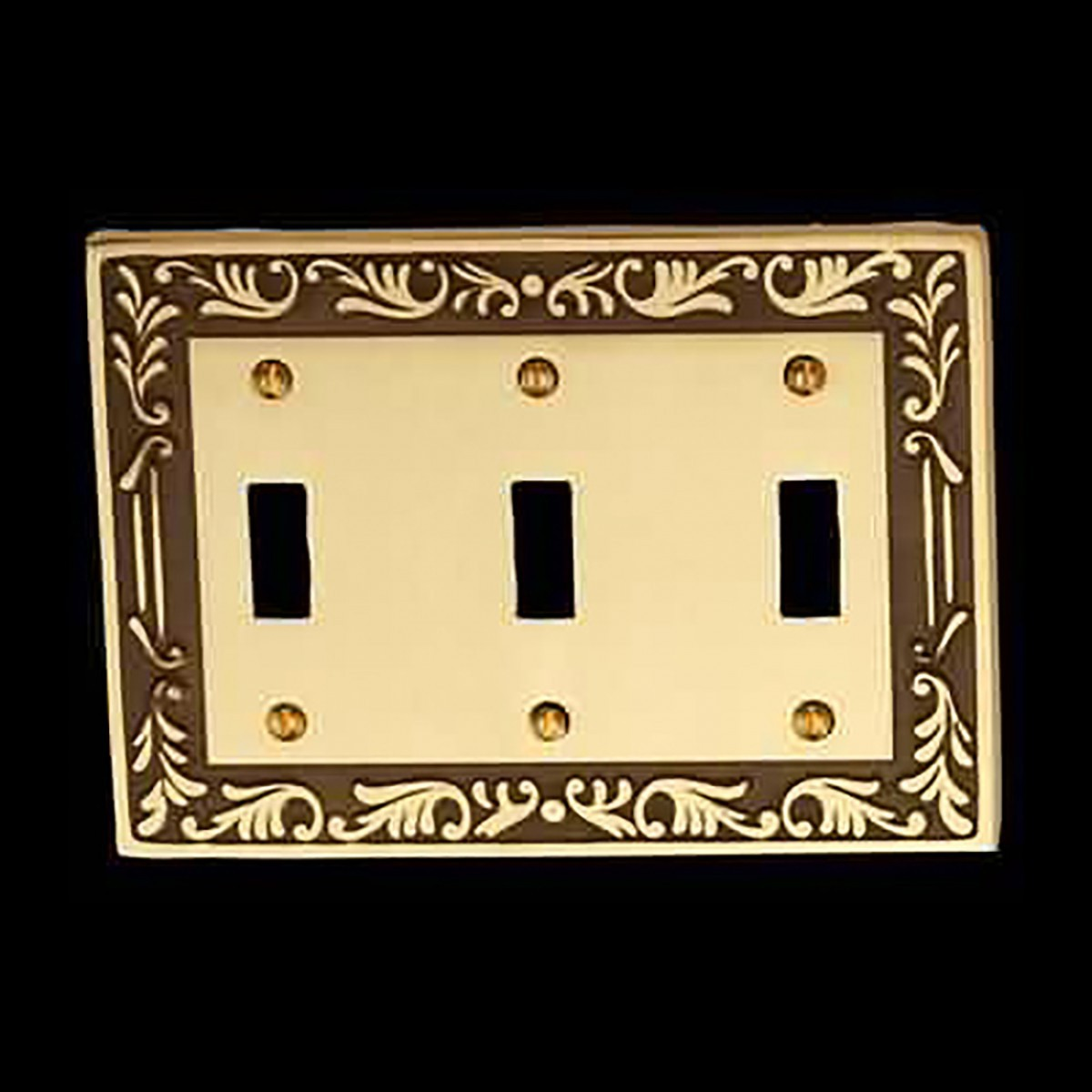 25 Victorian Switch Plate Triple Toggle Antique Solid Brass Switch Plate Wall Plates Switch Plates