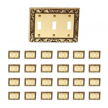 <PRE>25 Victorian Switch Plate Triple Toggle Antique Solid Brass </PRE>zoom1