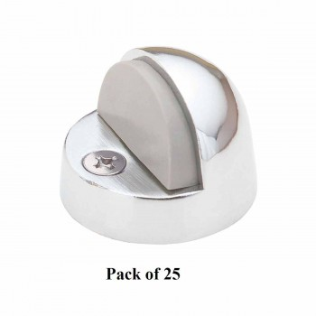 <PRE>25 Brass Door Stop High Dome Floor Mount Bumper Chrome </PRE>