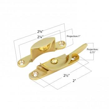 """spec-<PRE>Brass Window Hardware Sash Lock Fastener Lacquered Heavy Duty 2 5/8"""" Inches Wide</PRE>"""