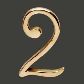 <PRE>Bright Solid Brass 3inch Address House Number '2' Pin Mount </PRE>zoom2