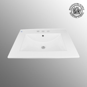 Square Drop In Sink Self Rimming for Bathroom White Grade A Porcelain 24 Centerset White Drop In Sink Dropin Bathroom Sink Drop In Rectangular Bathroom Sink