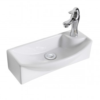 Wall Mount White Vitreous China Small Square Sink Right Faucet Hole71667grid