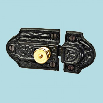 <PRE>12 Ornate Cast Iron Slide Cabinet Latch Brass Knob </PRE>zoom2