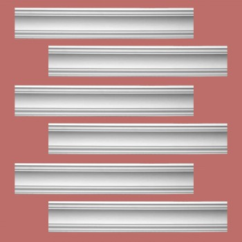 Renovators Supply Cornice White Urethane Parisian Design 6 Pieces Totaling 570 Length White PrePrimed Urethane Crown Cornice Molding Cornice Crown Home Depot Ekena Millwork Molding Wall Ceiling Corner Cornice Crown Cove Molding